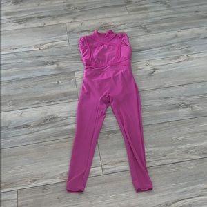Magenta unitard with mesh pants
